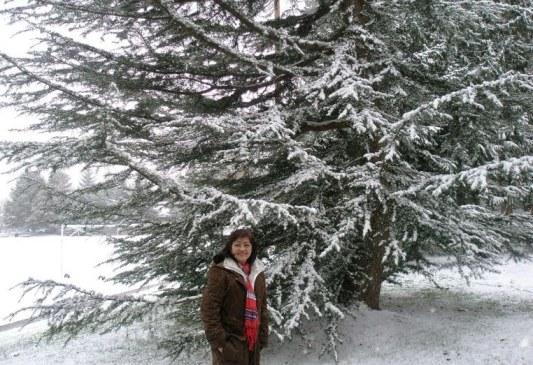 Bích Vân and her first snowfall - Photo: Vandungsilk