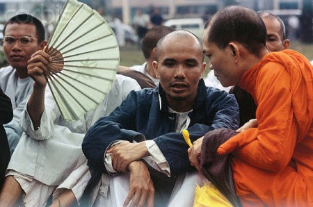 Buddhist Monk Talking to Thich Tri Quang