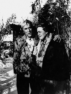 Boris Pasternak and Olga Ivinskaya at his dacha in Peredelkino, late 1950s
